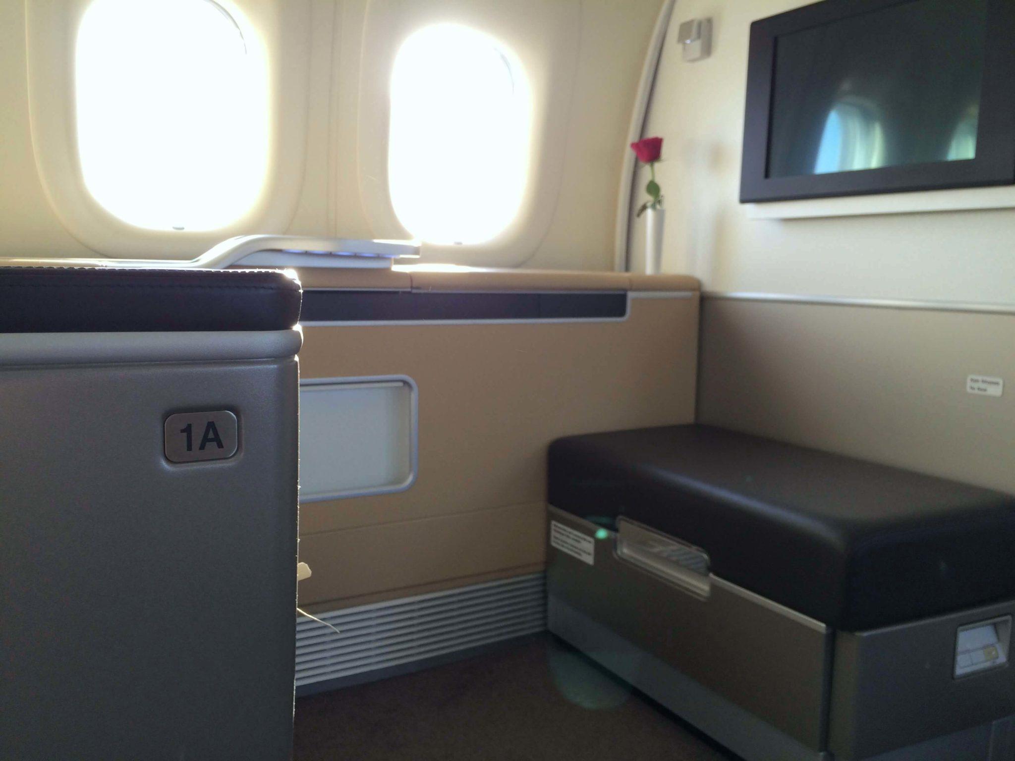Asiento 1A, Lufthansa first class Boeing 747-800